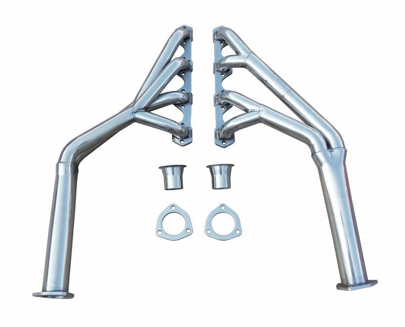 Exhaust Header Full Length Design 64-70 Mustang Tri-YLong Tube Hardware Incl 2.5 in to 2 in Collector Polished 304 Stainless Ste