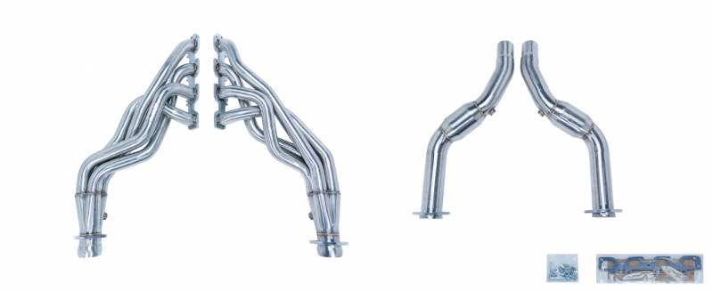 Exhaust Header 1-7/8 in Primary 30 in Collector Long Tube Catted Downpipe 304 Stainless Steel Polished Pypes Exhaust