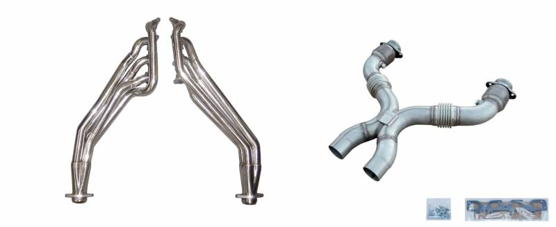 Exhaust Header Long Tube w/Catted X-Pipe Hardware Incl Polished 304 Stainless Steel Pypes Exhaust