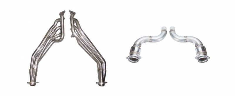Exhaust Header Long Tube Catted To Factory Mid-Pipe Hardware Included Polished 304 Stainless Steel Header 409 Stainless Mid-Pipe