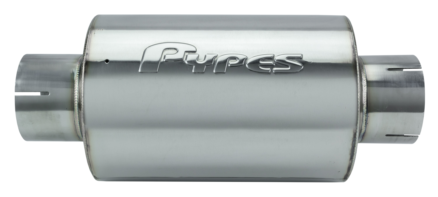 M-80 Series Muffler 3 in Round 6 in Width Hardware Not Incl Polished 304 Stainless Steel Pypes Exhaust