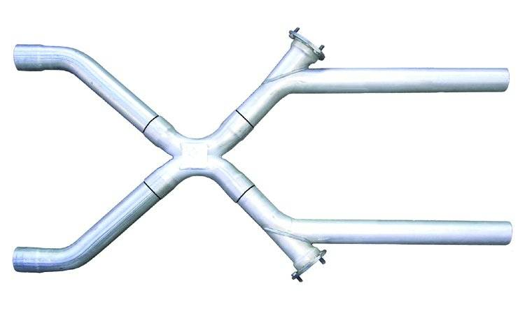 Exhaust X-Pipe Kit Intermediate Pipe 2.5 in Crossover 3 in Collector Flange At Each Of The Cutouts Hardware Incl Natural 409 Sta