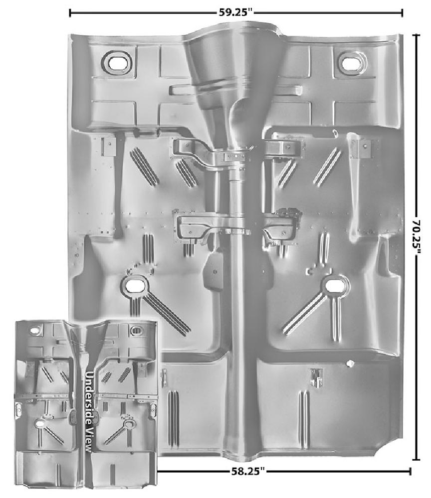 1964-1967 Complete Floor Pan (w/NO Hole, Weld Through Primer)