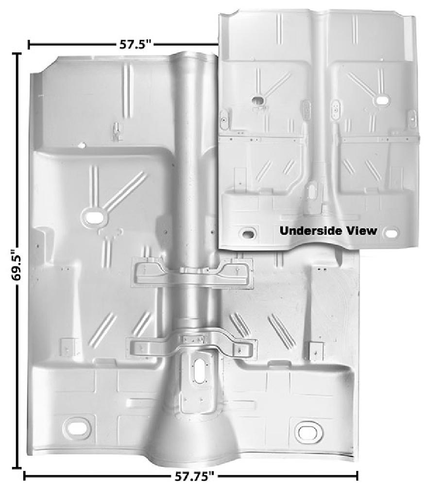1962-1967 Complete Floor Pan (Auto Trans, Weld Through Primer)