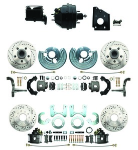1966-1970 Complete Stock Height Front & Rear Disc Brake Kit (Drilled/Slotted Rotors, O.E.M. Booster Conversion w/Casting Numbers