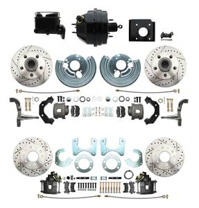 1966-1970 Complete Stock Height Front & Rear O.E.M. Style Disc Brake Conversion Kit (Drilled/Slotted Rotors)