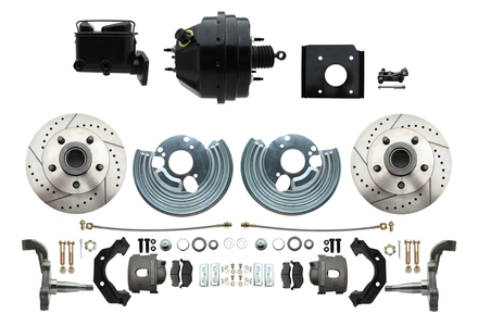 1966-1970 Complete Stock Height O.E.M. Style Disc Brake Conversion Kit (Drilled/Slotted Rotors)