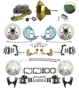 "1964-1972 Complete Stock Height Front & Rear Disc Brake Kit (Drilled/Slotted, w/11"" Delco Stamped/Casting Number Booster Kit)"