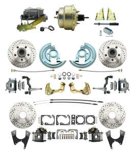 "1964-1972 Complete Stock Height Front & Rear Disc Brake Kit (Drilled/Slotted Rotors, w/8"" Dual Zinc Booster Kit)"