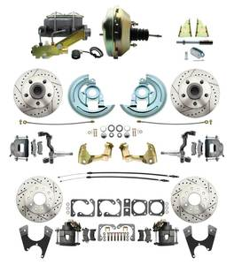 "1964-1972 Complete Stock Height Front & Rear Disc Brake Kit (Drilled/Slotted Rotors, w/9"" Dual Zinc Booster Kit)"