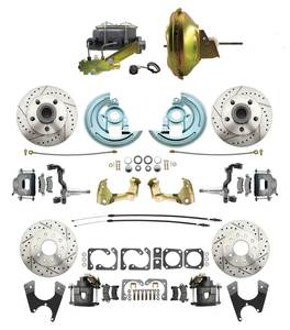 "1964-1972 Complete Stock Height Front & Rear Disc Brake Kit (Drilled/Slotted Rotors, w/11"" Delco Stamped Booster Kit)"