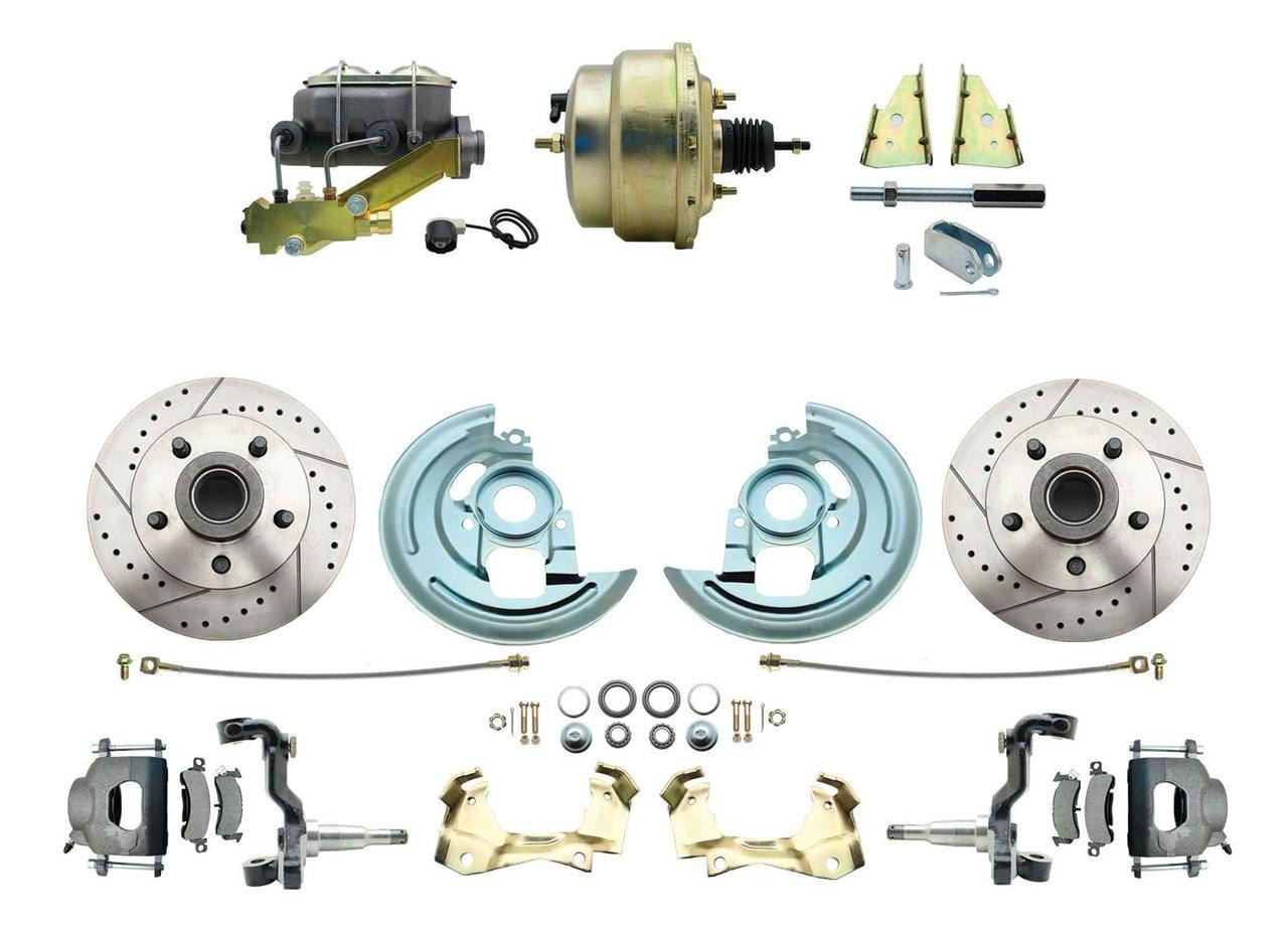 "1964-1972 Complete Stock Height Disc Brake Kit (Drilled/Slotted Rotors, w/8"" Dual Zinc Booster Kit)"