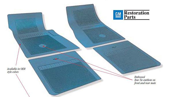 1962-1972 Bow Tie Rubber Floor Mats - 2 Piece Front Only