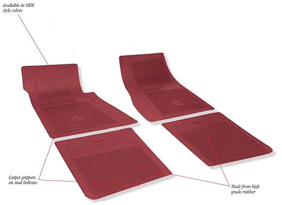1962-1972 Bow Tie Rubber Floor Mats - 4 Piece Front/Rear