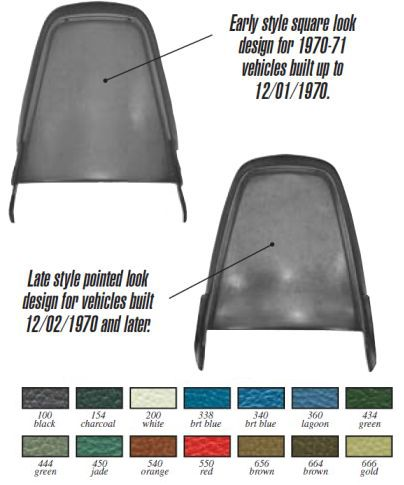 1970-1974 Bucket Seat Backs (Vacuum Formed) - PR