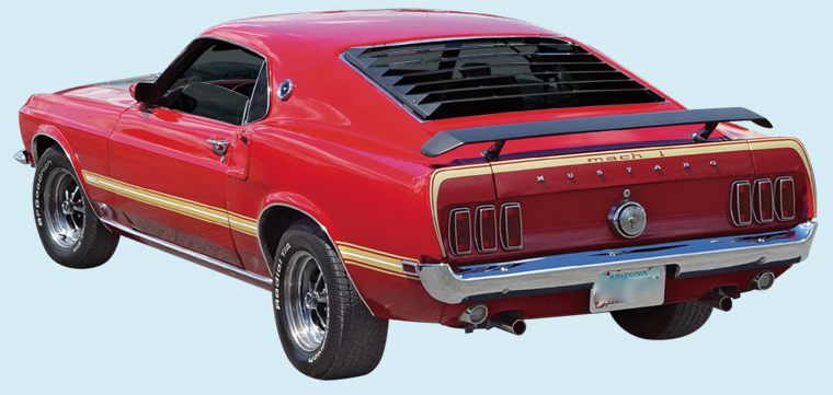 1969 Mustang Mach I Sides and Deck Stripes Decal Kit