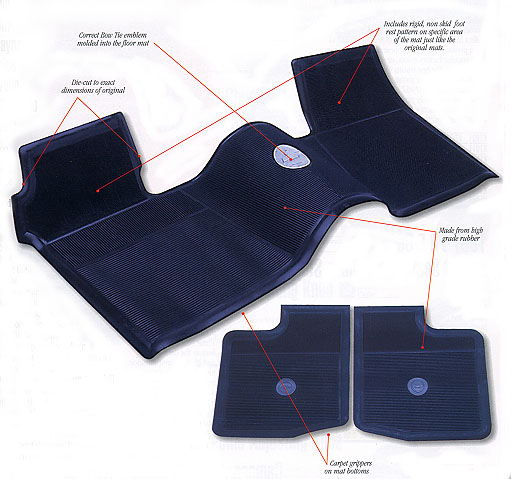 1963-1972 Full Length Bow Tie Rubber Floor Mats (W/O Console) - 3Pc