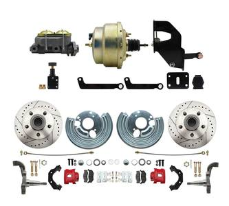 "1966-1972 Complete Stock Height Disc Brake Kit (Drilled/Slotted Rotors, w/8"" Dual Zinc Booster Conversion Kit)"
