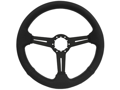 1967-1976 S6 Sport Perforated Leather Steering Wheel w/Black Anodized Center