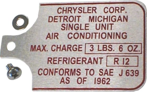 1967-1972 AC Data Tag