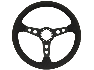 1967-1976 S6 Sport Ultralux Suede Steering Wheel w/Black Anodized Center (2 Hole Spoke)