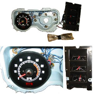 firebird parts 1969 stacked gauges and tach with 5500 redline for factory rally gauges. Black Bedroom Furniture Sets. Home Design Ideas