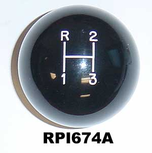 1964-1972 Black Shift Knob (3 Speed) - 2""