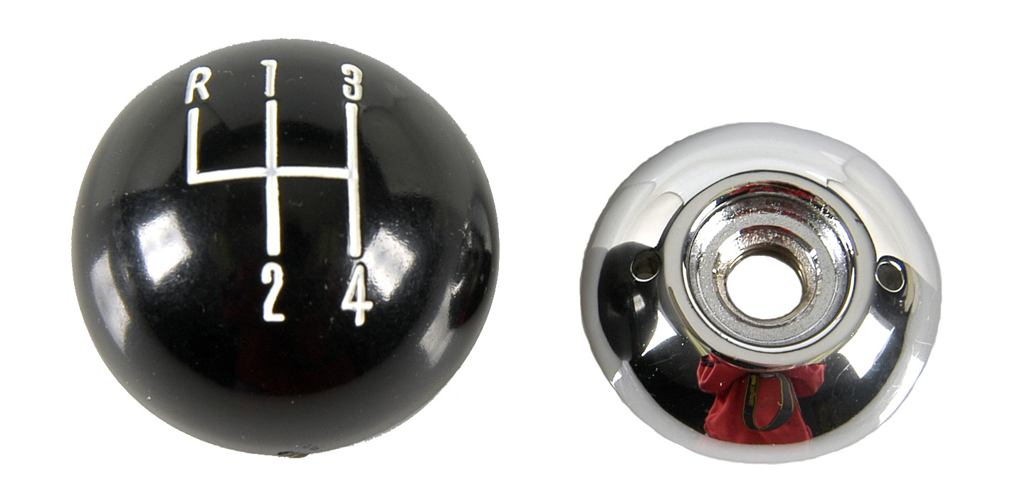 1964-1972 M/T Shift Knob 2 Piece Black/Chrome 3/8